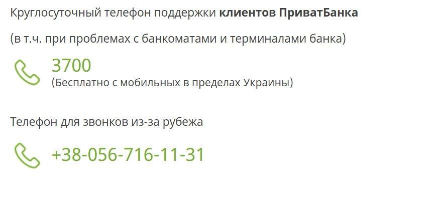 Контакты Приватбанка