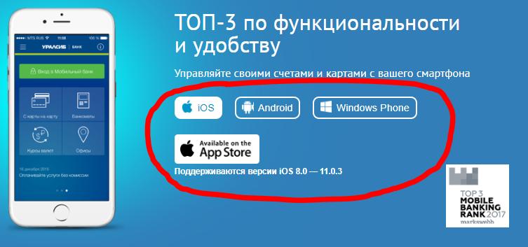 Ссылки для скачивания приложения на разные устройства на официальном сайте Уралсиб