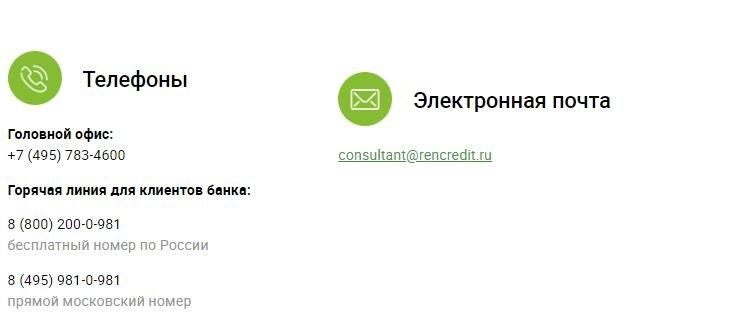 Номера телефонов банка Ренессанс Кредит